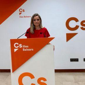 Cs Baleares solicita a la Mesa del Parlament la retirada inmediata del lazo amarillo que ha colocado Més en uno de los balcones de la institución